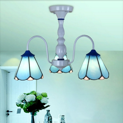 3 Lights Cone Semi Flush Light Traditional Blue/White Glass Ceiling Lamp for Bedroom