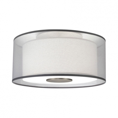 4 Lights Drum Shade Ceiling Mount Light Simple Style Fabric Ceiling Lamp in White for Bedroom