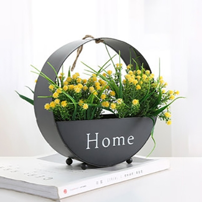Round Shape LED String Light European Style Metal Wall String Light with Plant Decoration for Living Room