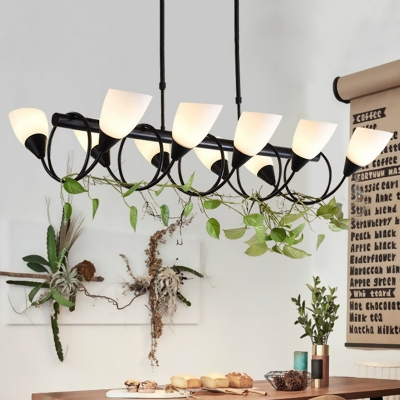 6/8/10 Lights Twist Arm Ceiling Light Contemporary Metal and Frosted Glass Island Light Fixture in Black for Living Room