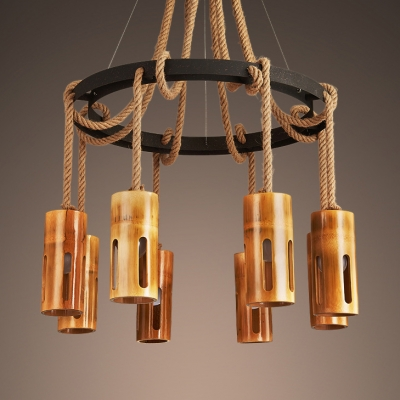 6/8 Lights Cylinder Chandelier Vintage Style Bamboo and Rope Ceiling Light in Brown for Coffee Shop