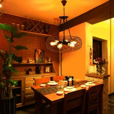 6 Lights Drum Pendant Lighting Industrial Metal Chandelier Light in Black for Hallway