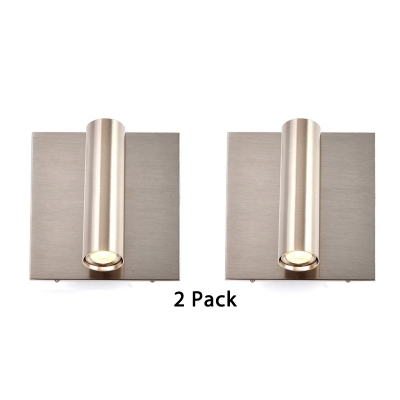 (2 Pack)Angle Adjustable Sconce Light with USB Charging Pot Wireless Cylinder Spot Light for Bedroom