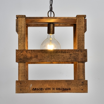 Beige Square Cage Hanging Light 1 Light Rustic Style Wood Ceiling Light for Dining Room Bar