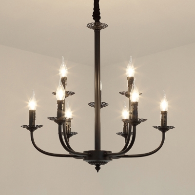 Black Flameless Candle Chandelier 9 Lights Colonial Style Metal Hanging Light for Living Room