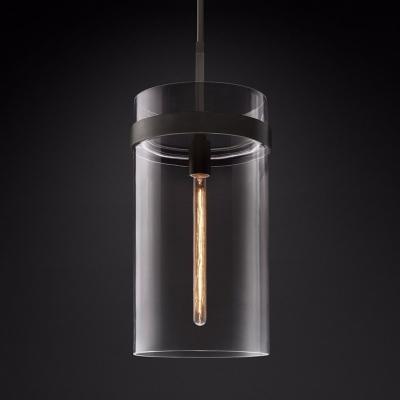 Clear Glass Cylinder Pendent Light 1/4 Lights Modern Light Fixture in Black/Brass for Kitchen Hallway