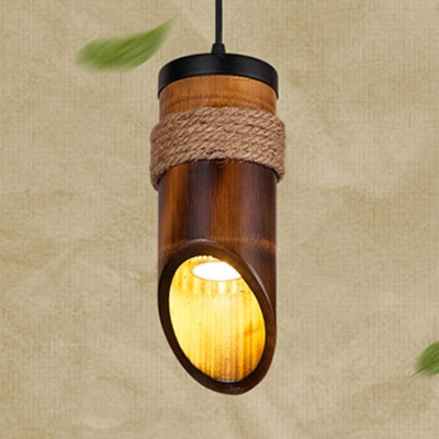 Coffee Shop Cylinder Hanging Light Bamboo Single Light Rustic Style Brown Hanging Lamp