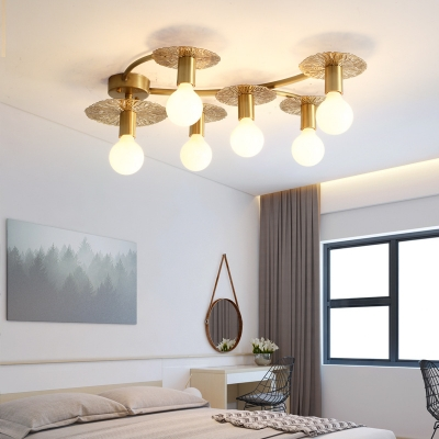 Creative Brass Semi Flush Mount Light 6/8 Lights Metal Ceiling Light for Living Room