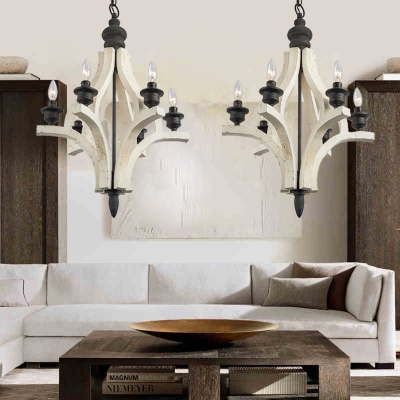 Dining Room Candle Style Ceiling Light Metal and Wood 4 Lights American Rustic White Suspension Light