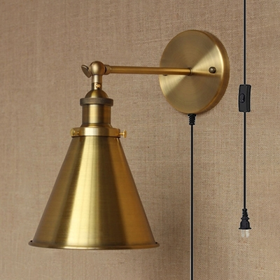 Dining Room Stair Cone Wall Lamp Metal 1 Light Vintage Style Brass Sconce Light with Plug In Cord, HL519258
