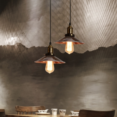 Distressed Flared Pendant Lighting One Light Farmhouse Metal Hanging Lamp in Aged Brass for Kitchen