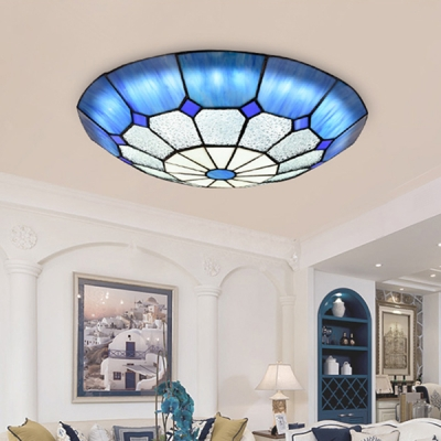 Dome Shape Ceiling Mount Light Tiffany Style Glass Flush Ceiling Lamp for Balcony