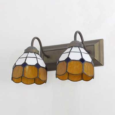 European Style Cone Wall Light Double Lights Metal Wall Sconce for Hallway Bathroom