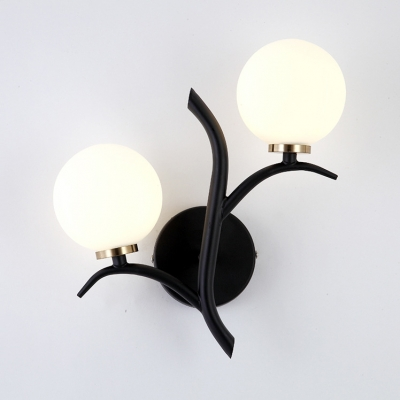 Frosted Glass Metal Wall Sconce 2 Light Globe Shade Modern Wall Lamp in Gold/Black for Bedroom Hallway