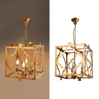 Gold Square Chandelier Light 4 Lights Rustic Style Wood Hanging Lamp for Restaurant Coffee Shop
