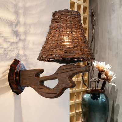 Hand Knitted Rattan Sconces for Bar Hallway Rustic One Light Wall Lamp in Brown with Wood Support