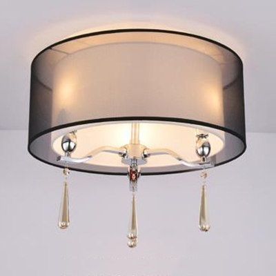 Hotel Drum Ceiling Mount Light Fabric 3 Lights Modern Black/Red Ceiling Light with Crystal Decoration