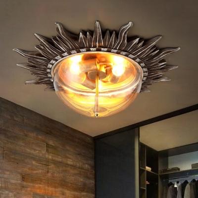 Industrial Sun Shape Ceiling Light Resin Clear Glass 3 Lights Flush Mount Light for Foyer Living Room