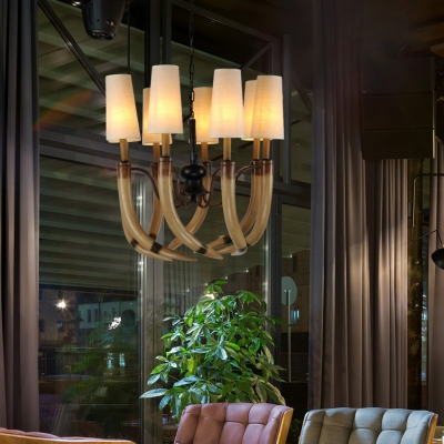 Living Room Tapered Chandelier with Antlers Decoration Resin 8/9 Lights Rustic Style Beige Hanging Light