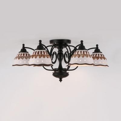 Metal Double Bubble Ceiling Light 3/6/8 Lights Antique Style Semi Flush Light for Hotel