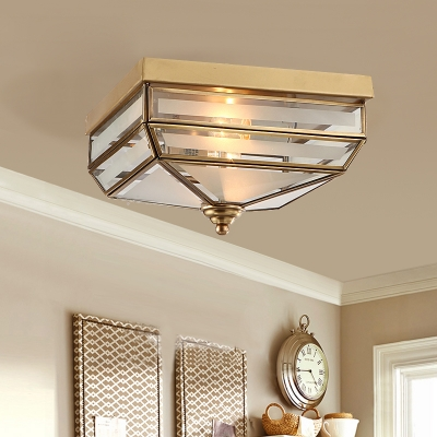 Metal Square Ceiling Fixture Dining Room 2 Lights Antique Style Flush Light in Brass