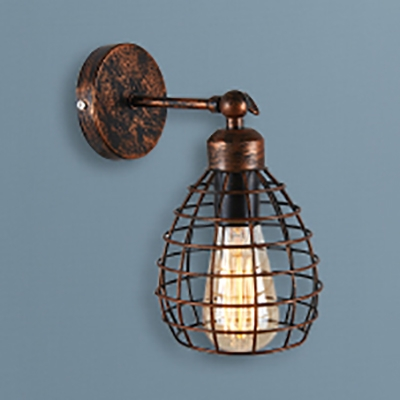 Metal Wire Wall Sconce Foyer 1 Light Rotatable Industrial Sconce Light in Rustic Copper