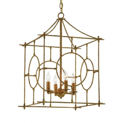 Restaurant Candle Chandelier with Metal Cage 4 Lights Antique Style Light Fixture in Antique Gold/Antique Silver