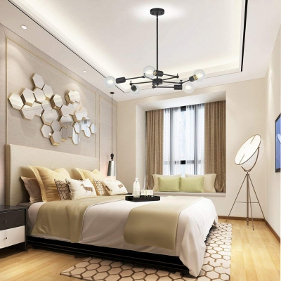 Rotatable 5 Lights Bulb Chandelier Industrial Metal Drop Ceiling Light with Hanging Rod