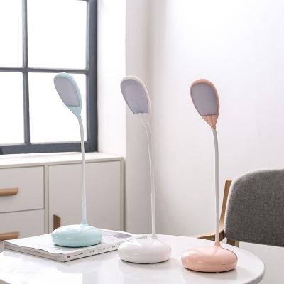 Rotatable White/Blue/Pink LED Desk Light USB Charging Port Goose Neck Reading Light with Touch Sensor