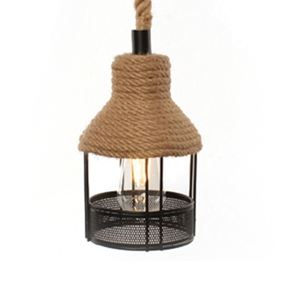 Rustic Style Beige Ceiling Light with Gazebo Shape Single Light Rope and Metal Ceiling Light for Restaurant