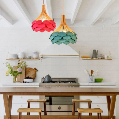 Single Light Ceiling Pendant Vintage Style Wood Hanging Pendant for Dinging Room Living Room