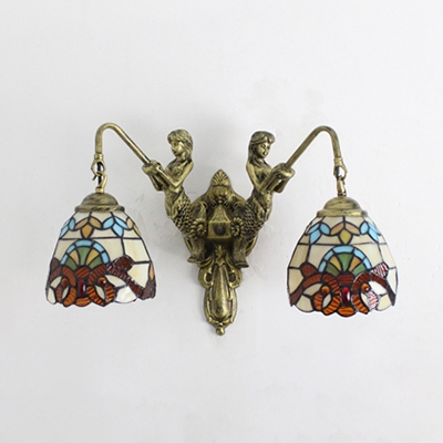 Stained Glass Wall Light Bedroom 2 Lights Victoria/Dragonfly Wall Sconce with Mermaid