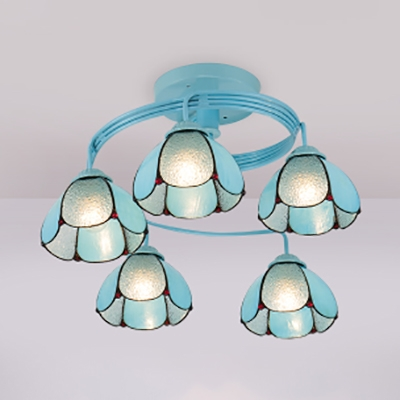 Tiffany Style Blue Semi Flush Light Dome 3/5 Lights Metal Ceiling Lamp for Living Room
