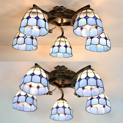 Tiffany Style Conical Flush Ceiling Light 5 Lights Glass Overhead Light for Dining Room