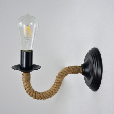 Traditional Open Bulb Sconce Light 1 Light Metal and Rope Wall Light in Black for Hallway Living Room