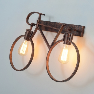 2 Lights Bicycle Wall Sconce Light