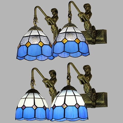 2 Lights Bowl Wall Lamp with Mermaid Arm Antique Style Blue/Clear Glass Sconce Light for Hallway