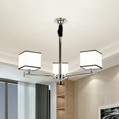 3/6/8 Lights Square Pendant Light Modern Style Metal Chandelier in White for Study Room Foyer