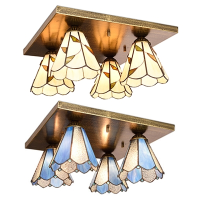 4 Lights Cone Ceiling Mount Light Rustic Glass Ceiling Lamp in Blue/Beige for Hotel
