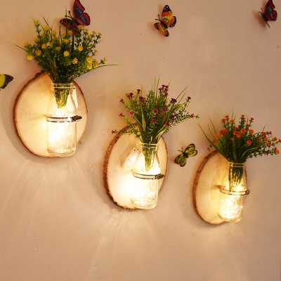 Rustic Style String Light with Bottle and Plant Decoration Wood and Clear Glass Fairy Light for Foyer