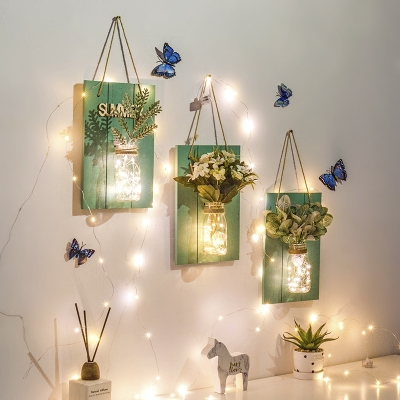 Wood and Clear Glass String Lamp Bedroom Study Pretty Twinkle Light with Plant and Bottle