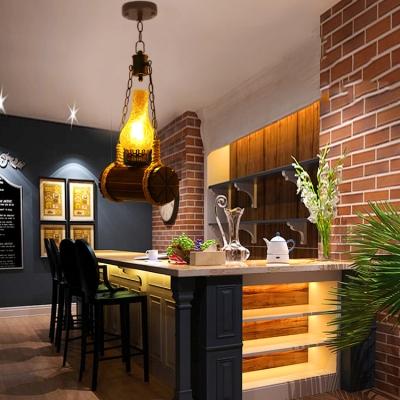 Antique Style Kerosene Pendant Lamp Single Light Wood and Glass Hanging Light for Bar