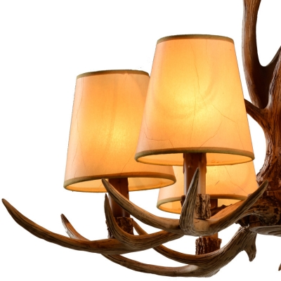 Antique Style Tapered Style Chandelier Resin 6 Lights Hanging Light with Deer Horn for Restaurant