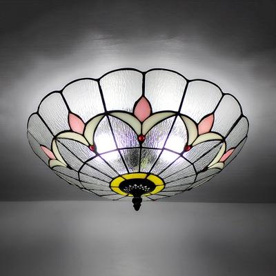 Bedroom Flower Ceiling Lamp Stained Glass 3 Lights European Style Flush Mount Light