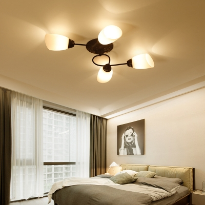 Bedroom Twist Arm Semi Flush Light Metal 4/6/9 Lights American Rustic Black Ceiling Light