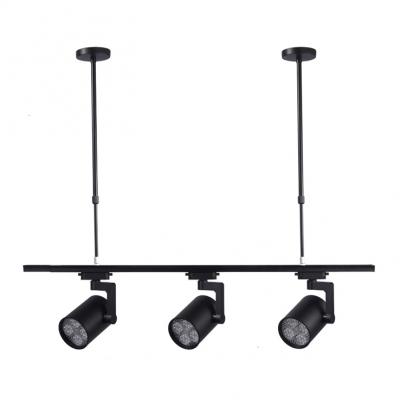 Black Cylinder Led Track Light 3 Lights Rotatable Metal Hanging