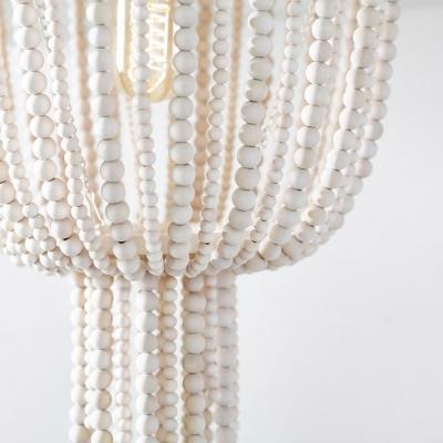 Bowl Shape Chandelier Dining Room Single Light Rustic Style Wood Pendant Light in White