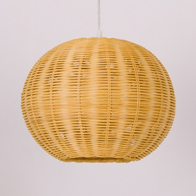 Brown Globe Ceiling Light Fixture Single Light Rustic Rattan Ceiling Light for Restaurant Shop