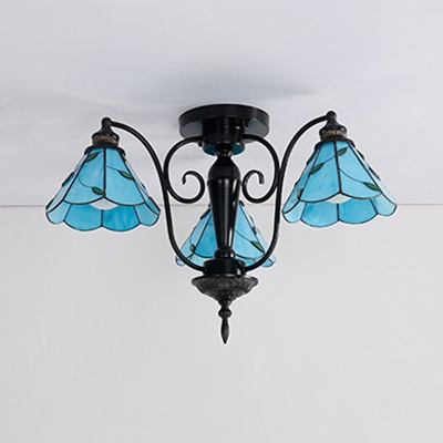 Cone Dining Room Ceiling Lamp Glass 3 Lights Rustic Style Blue/Clear Semi Flush Mount Light
