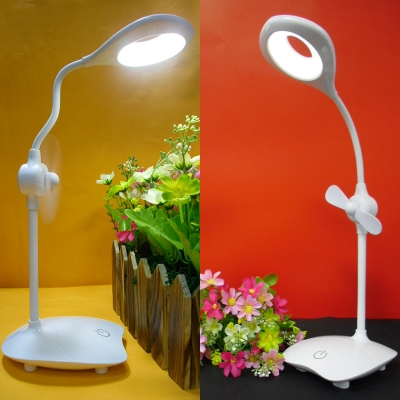 Dimable Foldable Led Desk Lamp With Small Fan Usb Charging Port Study Light With Touch Sensor